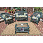 4 Piece Madrid Wicker Set with Cushions 2- Chairs - HUNTER GREEN
