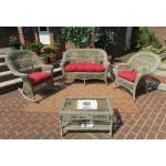 4 Piece Madrid Wicker  Set with Cushions 1- Chair 1-Rocker - DRIFTWOOD