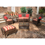 6 Piece Madrid Wicker Set with Cushions 1- Chair 1-Rocker - RUSTIC BROWN