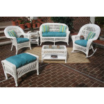 6 Piece Madrid Wicker Set with Cushions 1- Chair 1-Rocker - WHITE