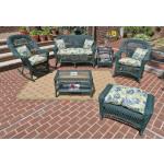 6 Piece Madrid Wicker Set with Cushions 1- Chair 1-Rocker - HUNTER GREEN