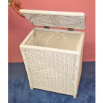 Medium Wicker Hamper, Cloth Lined, White - WHITE