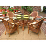 "5 Piece Monterey Wicker Dining Set, 48"" Round - TEAWASH"