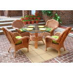 "5 Piece Naples Natural Wicker  Dining Set, 48"" Round - TEAWASH"