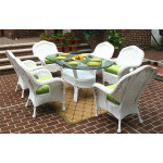 """7 Piece Naples Natural Wicker Dining Set 72"""" Oval - WHITE"""