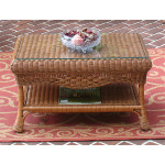 Naples Wicker Cocktail Table with Glass Top (2 colors) - TEAWASH