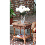 Naples Wicker End Table with Glass Top (2 colors) - TEAWASH