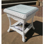 Naples Wicker End Table with Glass Top (2 colors) - WHITE
