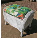 Naples Wicker Bench/Ottoman with Cushion - WHITE