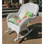 Naples Natural Wicker Rocking Chair. High Back - WHITE