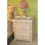Pavilion 2-Drawer Wicker Night Stand - WHITE WASH