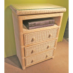Pavilion 3-Drawer Swivel Top Wicker TV. Stand, White Wash -
