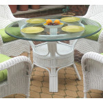 """5 Piece Natural Wicker Dining Set, Vineyard 48"""" Round - DINING TABLE"""