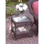 Palm Springs Resin Wicker End Table - ANTIQUE BROWN