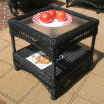 Palm Springs Resin Wicker End Table - BLACK