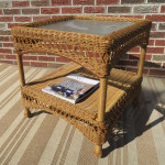 Palm Springs Resin Wicker End Table - GOLDEN HONEY