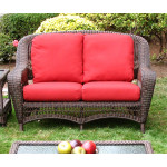 Palm Springs Resin Wicker Love Seat  - ANTIQUE BROWN