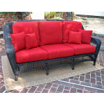 Palm Springs Resin Outdoor Wicker Sofa  - BLACK