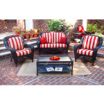 4 Piece Palm Springs Resin Wicker Set Love Seat, 2 Chairs & Cocktail Table - BLACK