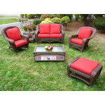 4 Piece Palm Springs Resin Wicker Furniture Set, Love Seat, Chair, Rocker, Coffee Table - ANTIQUE BROWN
