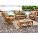 4 Piece Palm Springs Resin Wicker Furniture Set, Love Seat, Chair, Rocker, Coffee Table - GOLDEN HONEY
