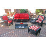 4 Piece Palm Springs Resin Wicker Furniture Set, Sofa, 2 Chairs & Cocktail Table - BLACK
