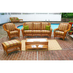 4 Piece Palm Springs Resin Wicker Furniture Set, Sofa, 2 Chairs & Cocktail Table - GOLDEN HONEY