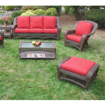 5 Piece Palm Springs Resin Wicker Furniture Set, Sofa, Chair, Otttoman, Cocktail & End Table - ANTIQUE BROWN