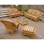 5 Piece Palm Springs Resin Wicker Furniture Set, Sofa, Chair, Otttoman, Cocktail & End Table - GOLDEN HONEY