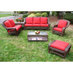 6 Piece  Resin Wicker Furniture Set, Palm Springs. Sofa, Love Seat, Chair, Ottoman, Cocktail & End Table - ANTIQUE BROWN