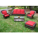 6 Piece Palm Springs Resin Wicker Furniture Set. Sofa, Chair, Ottoman, Rocker, Cocktail & End Table - ANTIQUE BROWN