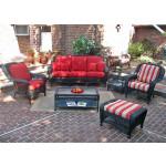 6 Piece Palm Springs Resin Wicker Furniture Set. Sofa, Chair, Ottoman, Rocker, Cocktail & End Table - BLACK