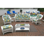 6 Piece Palm Springs Resin Wicker Furniture Set. Sofa, Chair, Ottoman, Rocker, Cocktail & End Table - WHITE