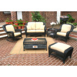 6 Piece Palm Springs Resin Wicker Furniture Set. Love Seat, Chair, Ottoman, Rocker, Cocktail & End Table. - BLACK