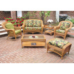 6 Piece Palm Springs Resin Wicker Furniture Set. Love Seat, Chair, Ottoman, Rocker, Cocktail & End Table. - GOLDEN HONEY
