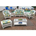6 Piece Palm Springs Resin Wicker Furniture Set. Love Seat, Chair, Ottoman, Rocker, Cocktail & End Table. - WHITE