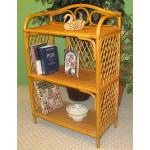 Wicker Bookcase, Caramel 3 Shelves -