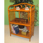 Wicker Floor Shelf, Tea Wash 3 Shelves -