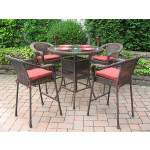 5 Piece 42 Round Resin Wicker High Dining Set With Cushions - ANTIQUE BROWN