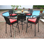 5 Piece 42 Round Resin Wicker High Dining Set With Cushions - BLACK
