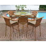 5 Piece 42 Round Resin Wicker High Dining Set With Cushions - GOLDEN HONEY
