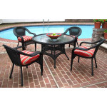 "Resin Wicker Dining Set 48"" Round - BLACK"