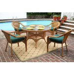 "Resin Wicker Dining Set 48"" Round - GOLDEN HONEY"