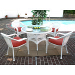 "Resin Wicker Dining Set 48"" Round - WHITE"