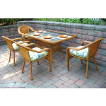 60x36 Rectangular Dining Set With 4-Cushioned Dining Chairs - GOLDEN HONEY
