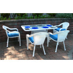 60x36 Rectangular Dining Set With 4-Cushioned Dining Chairs - WHITE