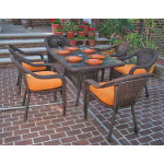 Resin Wicker Dining Set 60 x 36 Rectangular - ANTIQUE BROWN