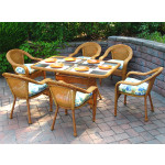 Resin Wicker Dining Set 60 x 36 Rectangular - GOLDEN HONEY