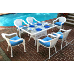 Resin Wicker Dining Set 60 x 36 Rectangular - WHITE