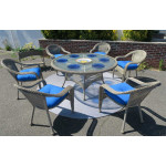 "Resin Wicker Dining Set 60"" Round - DRIFTWOOD"
